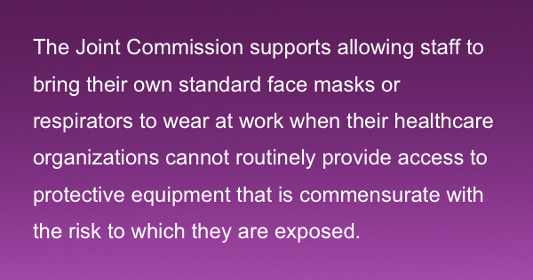 JCAHO support for masks from home